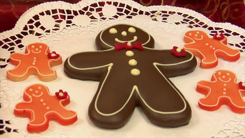 10800 German Confectioner Dolly Around Gingerbread Man stock footage
