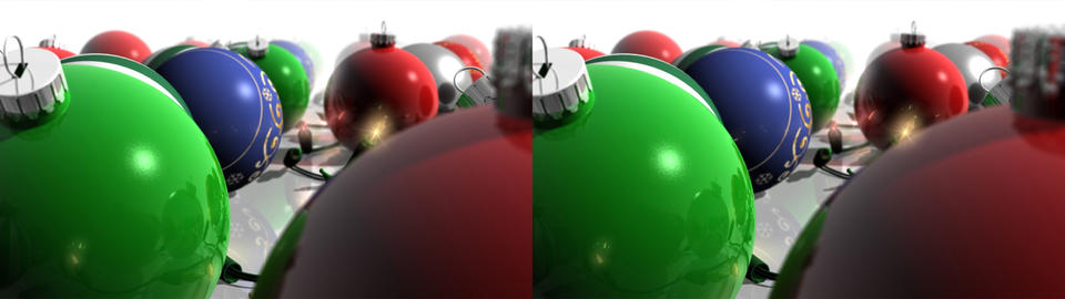 Christmas Ornaments and Lights - Stereoscopic 3D Stock Video Footage