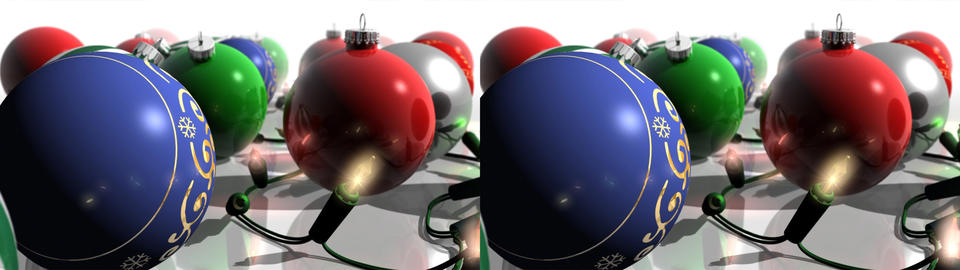 Christmas Ornaments and Lights - Stereoscopic 3D Animation