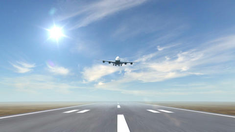 airplane landing against a sky background Stock Video Footage
