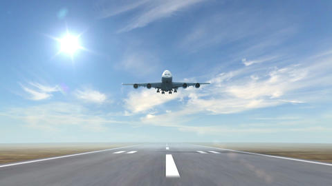 airplane landing against a sky background Animation
