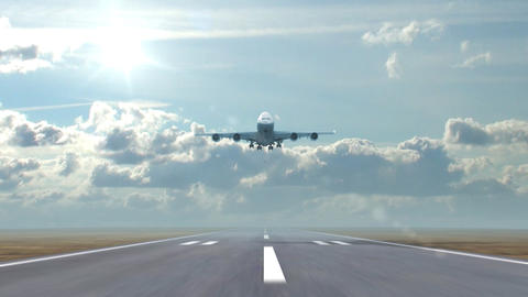 Airplane Landing Against A Background Of Running Clouds stock footage