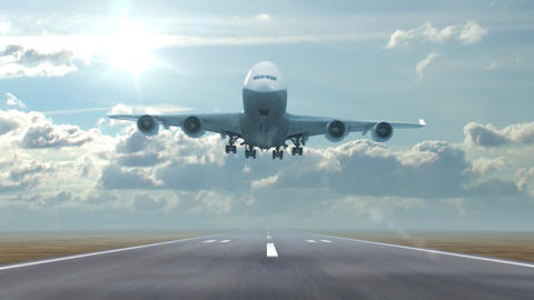 airplane landing against a background of running clouds Stock Video Footage