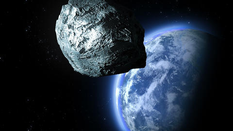 asteroid flies to the Earth Animation