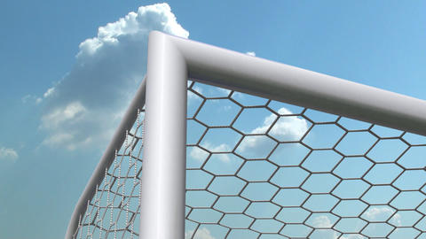 soccer ball is flying in the goal Stock Video Footage