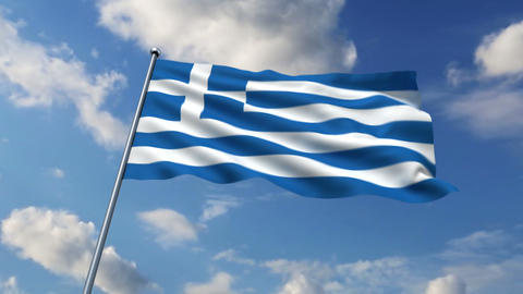 Greece flag Stock Video Footage