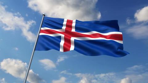 Iceland flag Animation