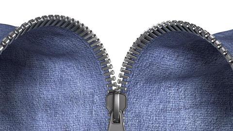 unzipping a zipper, jeans Stock Video Footage