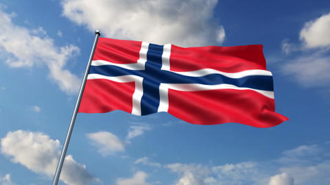 Norwegian flag Stock Video Footage