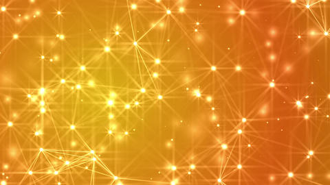 Abstract lines, dots and stars evolving over a golden background Animation