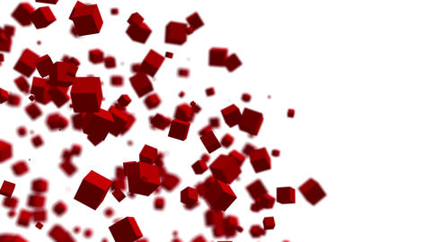 Abstract red cubes orbiting and moving randomly. Seamless loop Animation