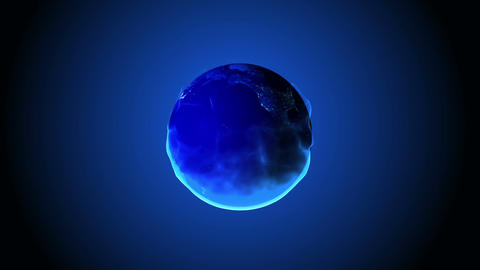 Fantasy 3d Earth globe revolving with blue flames Animation