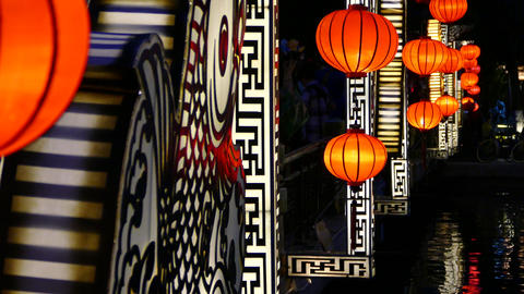Hoi an 85Close up from red lanterns at night on the Cau An Hoi bridge Footage