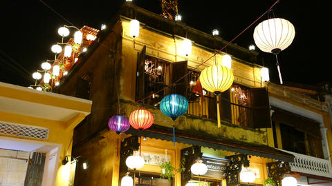Colorful lanterns at night in the street of Hoi An Live Action