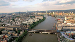 4K Aerial View Above The Thames River And Bridges In London stock footage
