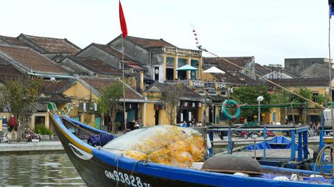 Fishing nets at a boat at the thu bon river Footage