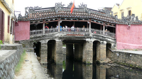 Japanese Covered Bridge during the day in Hoi an Footage