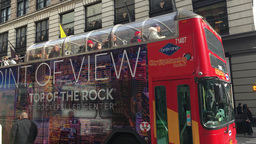 Double Decker Tour Bus, Traffic And Pedestrians stock footage