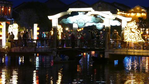 The Cau An Hoi bridge at night in Hoi An Footage