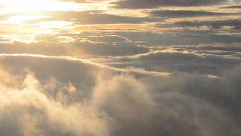 Golden Sunrise above clouds Panoramic Footage