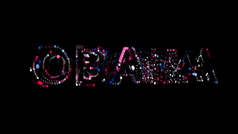 Letters are collected in Person of the World Politics OBAMA, then scattered into Animation