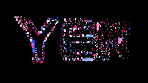 Letters are collected in Currency name YEN, then scattered into strips. Bright Animation