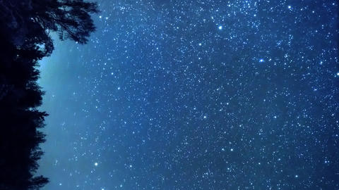 Vertical video. The stars revolve around a polar star in the background of the Live Action