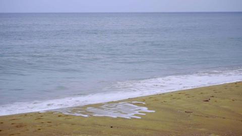 Powerful wave breaks along the shore Footage
