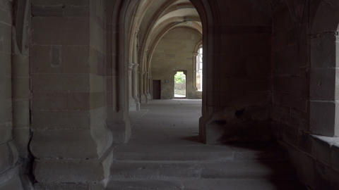 Gallery of an ancient monastery Stock Video Footage