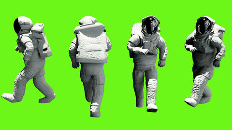 Fun astronaut walking. Loopable animation on green screen. 4k Image