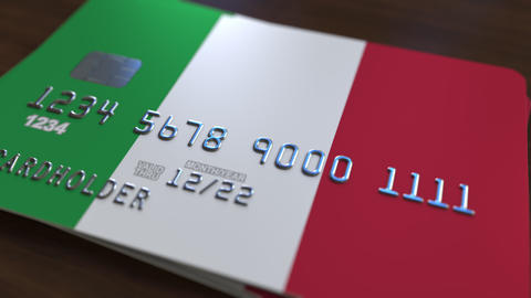 Plastic bank card featuring flag of Italy. National banking system related Live Action