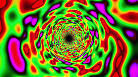 Green Vibrant Colorful Straight Endless Fractal Tunnel Fast CG動画素材