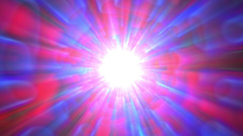 Psychedelic Blue Red Bright Burst Glow Abstract Motion Background Slow Animation