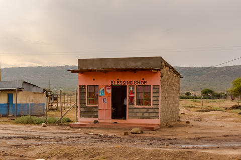 Small block stall in pink concrete in Kenya's rift valley フォト
