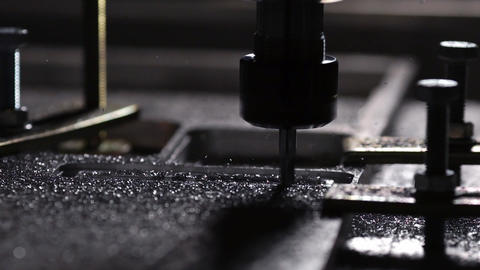 Modern production for the creation of aluminum plates. Beautiful drilling Footage