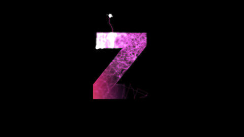 latin letter Z multi-colored appear then disappear under the lightning strikes Animation