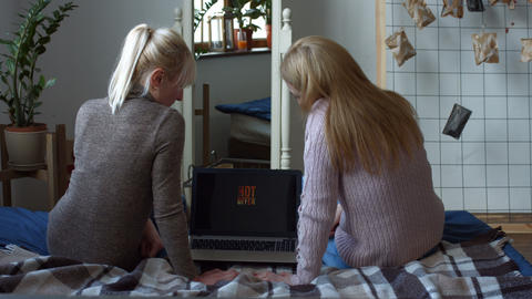 Joyful women with laptop shopping on line at home Image