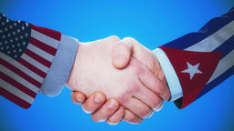 United States - Cuba / Handshake concept animation about countries and politics Animation