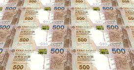 Banknotes of five hundred dollars of Hong Kong rolling, cash money, loop Animation