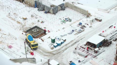Concrete mixer at the construction site Footage