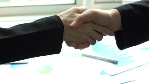 Businesswoman hand shaking in office Image