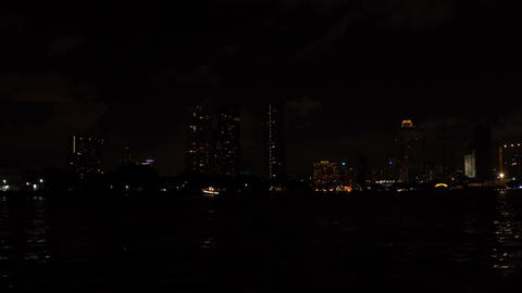 On The Boat In City Night Footage