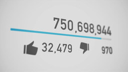 Video Counter Counts Up To 1 Billion Views stock footage