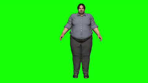 Man Getting Fat Time Lapse (Green Screen) stock footage