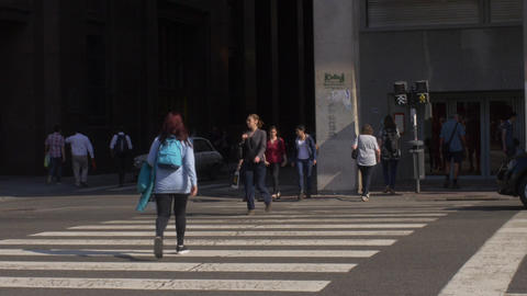 People Crossing The Street In Buenos Aires Series 1 stock footage