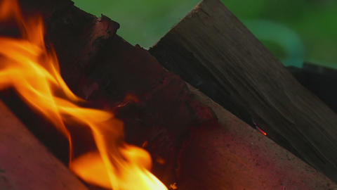 Wood burning close-up Footage