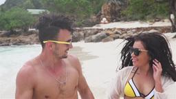 Couple Enjoying Romantic Beach Holiday Footage