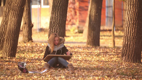 the girl sitting on the ground in the Park, and paints an autumn landscape Footage