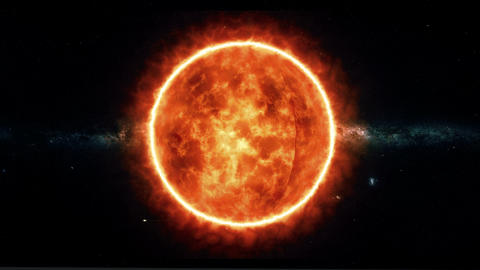 Sun with flares rotate in space Footage