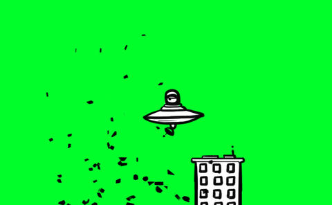 UFO destroying buildings Animation